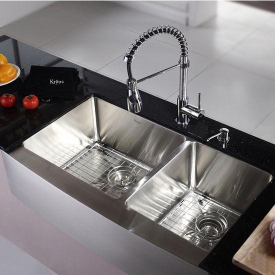 Kraus Farmhouse 60 40 Double Bowl Kitchen Sink And Chrome