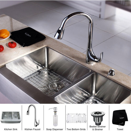 Kraus Stainless Steel 33 inch Farmhouse 70/30 Double Bowl Kitchen Sink and Chrome Dual Pull-out Spray Head Kitchen Faucet with Soap Dispenser, Chrome