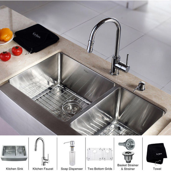 Kraus Stainless Steel 33 inch Farmhouse 70/30 Double Bowl Kitchen Sink and Chrome Kitchen Faucet with Soap Dispenser, Chrome