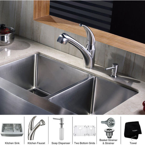Kraus Stainless Steel 36 inch Farmhouse Double Bowl Kitchen Sink with Striaght Neck Kitchen Faucet and Soap Dispenser, Stainless Steel
