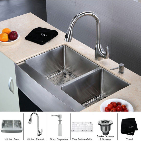 Kraus  33 inch Farmhouse Double Bowl 16 gauge Stainless Steel Kitchen Sink and Stainless Steel Pull out Kitchen Faucet with Soap Dispenser, Stainless Steel