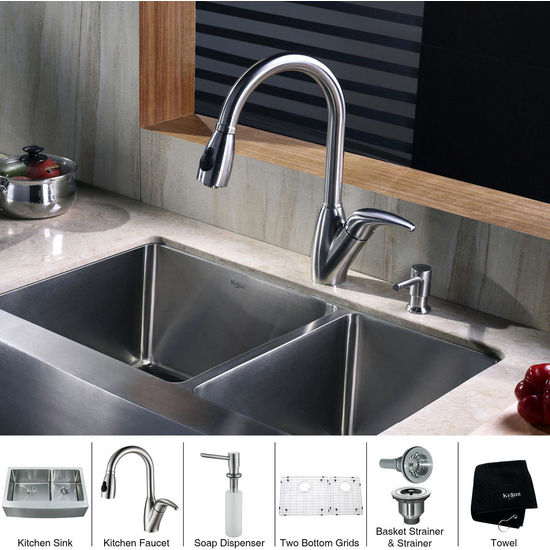 Kraus Stainless Steel 36 inch Farmhouse Double Bowl Kitchen Sink with a Gooseneck Kitchen Faucet 10 inch Reach, Curved Handle and Soap Dispenser, Stainless Steel