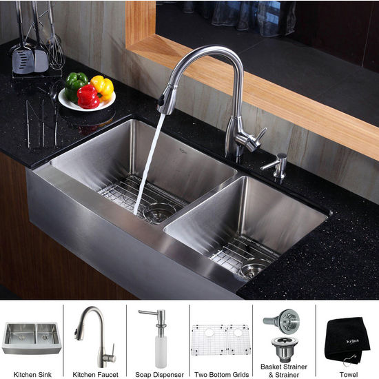 Kraus Stainless Steel 36 inch Farmhouse Double Bowl Kitchen Sink with a Gooseneck Kitchen Faucet, Straight Handle and Soap Dispenser, Stainless Steel