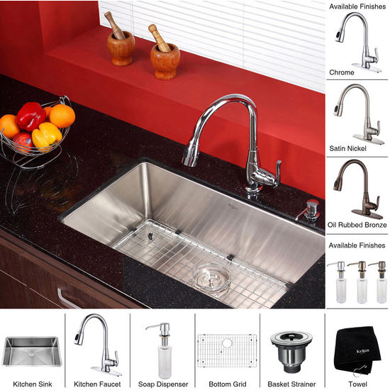 "Kraus 30"" Undermount Single Bowl Stainless Steel Rectangle Kitchen Sink with 15-1/5""H Kitchen Faucet and Soap Dispenser"