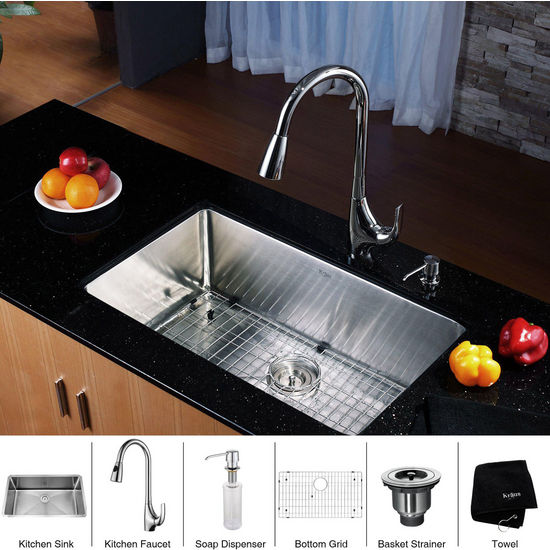 Kraus Stainless Steel 30 inch Undermount Single Bowl Kitchen Sink and Chrome Dual Pull-out Spray Head Kitchen Faucet with Soap Dispenser, Chrome