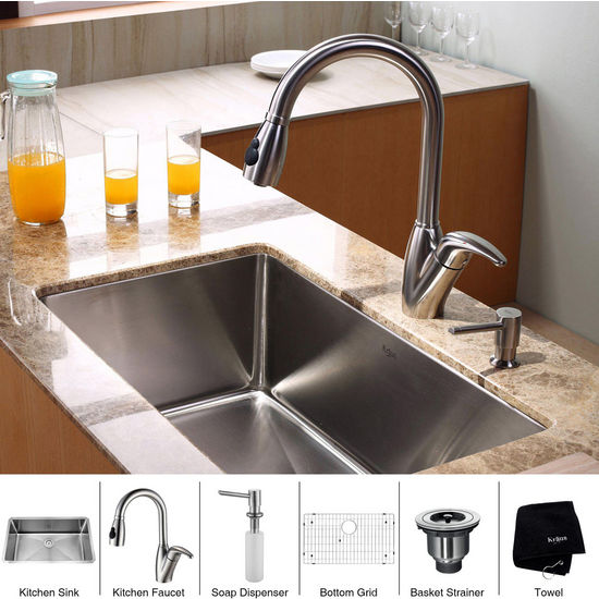 Kraus Stainless Steel 30 inch Undermount Single Bowl Kitchen Sink with a Gooseneck Kitchen Faucet 10 inch Reach, Curved Handle and Soap Dispenser, Stainless Steel