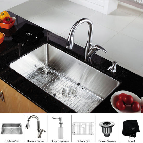 Kraus Stainless Steel 30 inch Undermount Single Bowl Kitchen Sink with a Gooseneck Kitchen Faucet 8 inch Reach, Curved Handle and Soap Dispenser, Stainless Steel