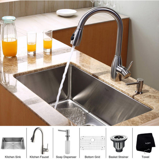 Kraus Stainless Steel 30 inch Undermount Single Bowl Kitchen Sink with a Gooseneck Kitchen Faucet, Straight Handle and Soap Dispenser, Stainless Steel