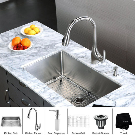 Kraus  30 inch Undermount Single Bowl 16 gauge Stainless Steel Kitchen Sink with Squared Corners and Stainless Steel Pull out Kitchen Faucet with Soap Dispenser, Stainless Steel