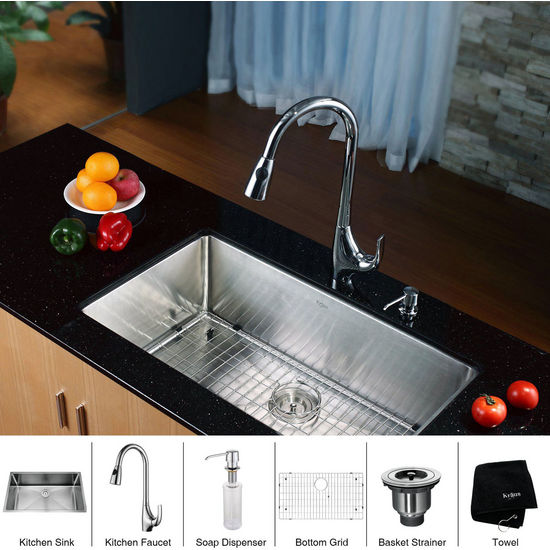 Kraus Stainless Steel 32 inch Undermount Single Bowl Kitchen and Chrome Gooseneck Kitchen Faucet with Soap Dispenser, Chrome