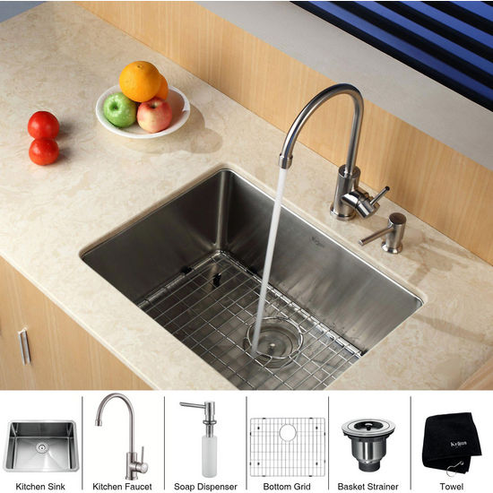 "Kraus Stainless Steel 23 inch Undermount Single Bowl Kitchen Sink (23"" L x 18"" W x 10"" H) with Gooseneck Kitchen Faucet and Soap Dispenser, Stainless Steel"