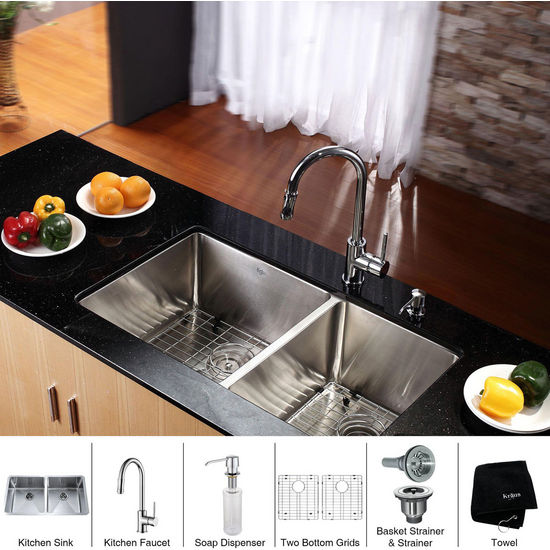 "Kraus 33"" Undermount Double Bowl Stainless Steel Kitchen Sink with Chrome Kitchen Faucet and Soap Dispenser"