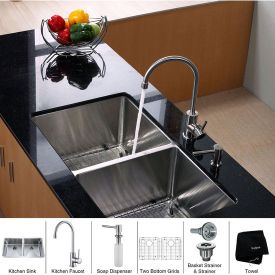 "Kraus 33"" Undermount Double Bowl Stainless Steel Kitchen Sink with Kitchen Faucet and Soap Dispenser"
