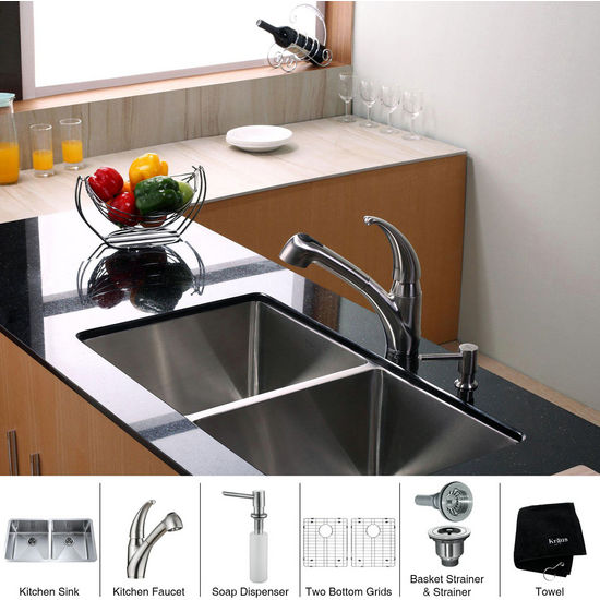 Kraus Stainless Steel 33 inch Undermount 50/50 Double Bowl Kitchen Sink with Straight Neck Kitchen Faucet and Soap Dispenser, Stainless Steel