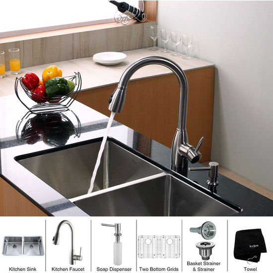 Kraus Stainless Steel 33 inch Undermount 50/50 Double Bowl Kitchen Sink with a Gooseneck Kitchen Faucet, Straight Handle and Soap Dispenser, Stainless Steel