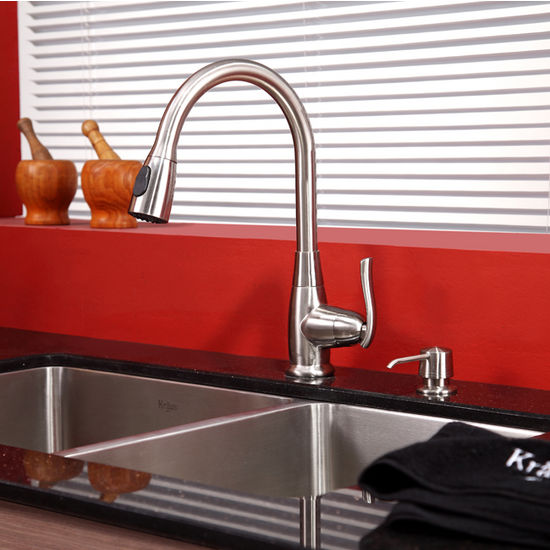"Kraus 33"" Undermount Double Bowl Stainless Steel Kitchen Sink with 15-1/5""H Kitchen Faucet and Soap Dispenser"
