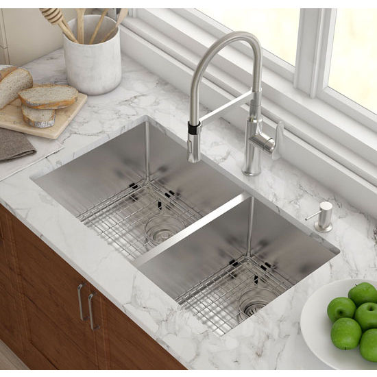Elegant Kraus 32 3/4u0027u0027 Undermount 60/40 Double Bowl 16 Gauge S/S Kitchen Sink With  NoiseDefend™ Soundproofing