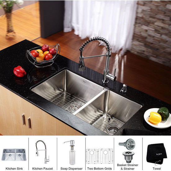 Kraus Stainless Steel 33 inch Undermount 70/30 Double Bowl Kitchen Sink and Chrome Dual Pull-out Spray Head Faucet and Dispenser, Chrome