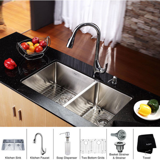 Kraus Stainless Steel 33 inch Undermount 70/30 Double Bowl Kitchen and Chrome Gooseneck Kitchen Faucet with Soap Dispenser, Chrome