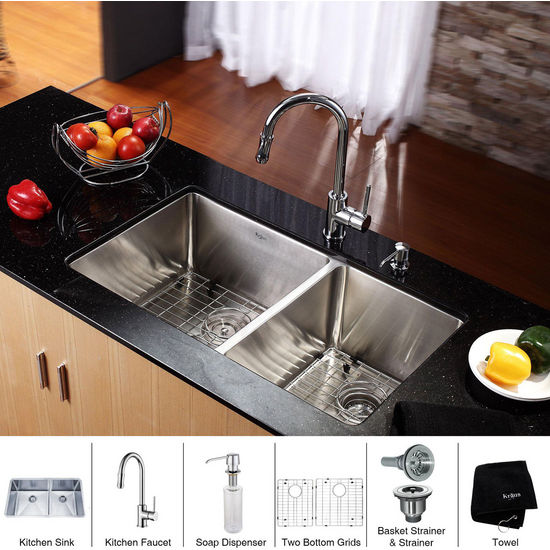 Kraus Stainless Steel 33 inch Undermount 70/30 Double Bowl Kitchen Sink and Chrome Kitchen Faucet with Soap Dispenser, Chrome