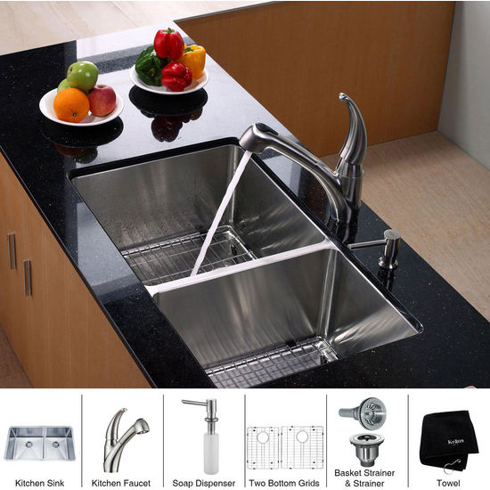 Kraus Stainless Steel 33 inch Undermount 70/30 Double Bowl Kitchen Sink with Straight Neck Kitchen Faucet and Soap Dispenser, Stainless Steel
