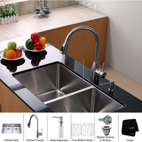 Kraus Stainless Steel 33 inch Undermount 70/30 Double Bowl Kitchen Sink with a Gooseneck Kitchen Faucet, Straight Handle and Soap Dispenser, Stainless Steel