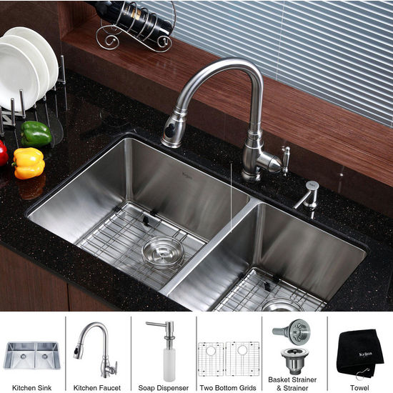 Kraus Stainless Steel 33 inch Undermount 70/30 Double Bowl Kitchen Sink with Kitchen Faucet and Soap Dispenser, Stainless Steel