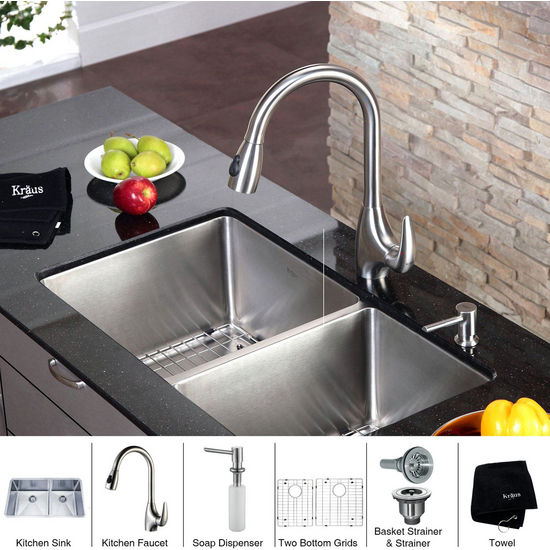 """Kraus  33 inch Undermount Double Bowl 16 gauge Stainless Steel Kitchen Sink (Bowl Sizes 16 9/10"""" L x 17"""" W x 10"""" D, 12 9/10"""" L x 17"""" W x 10"""" D) and Stainless Steel Pull out Kitchen Faucet with Soap Dispenser, Stainless Steel"""