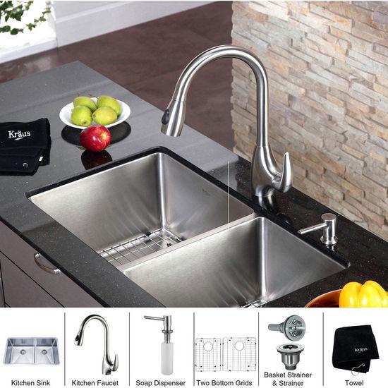 Kraus Undermount Double Bowl 16 Gauge Stainless Steel Kitchen Sink Bowl Size
