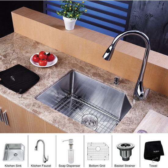"Kraus Stainless Steel 23 inch Undermount Single Bowl Kitchen Sink (23"" L x 18 3/4"" W x 10"" H) and Chrome Dual Pull-out Spray Head Faucet and Dispenser, Chrome"