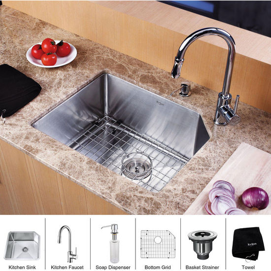 "Kraus Stainless Steel 23 inch Undermount Single Bowl Kitchen Sink (23"" L x 18 3/4"" W x 10"" H) and Chrome Kitchen Faucet with Soap Dispenser, Chrome"
