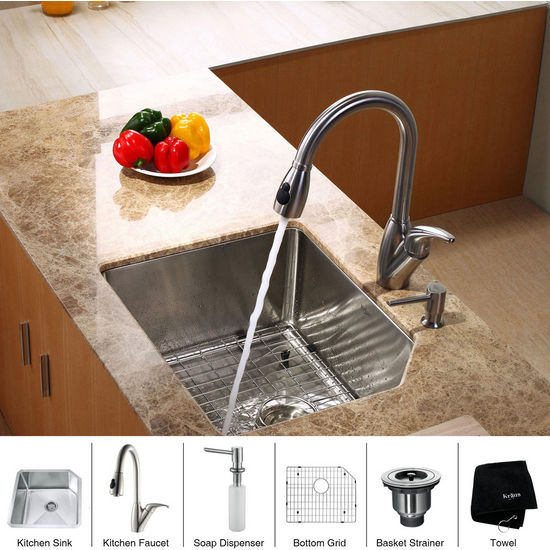 "Kraus Stainless Steel 23 inch Undermount Single Bowl Kitchen Sink (23"" L x 18 3/4"" W x 10"" H) with a Gooseneck Kitchen Faucet 10 inch Reach, Curved Handle and Soap Dispenser, Stainless Steel"