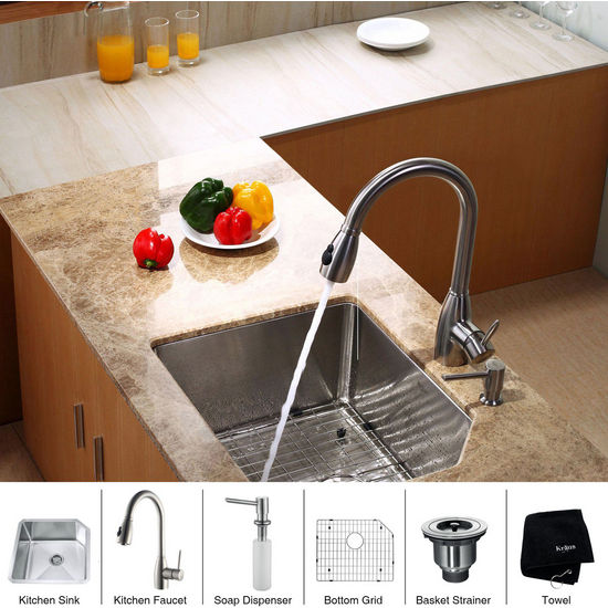 "Kraus Stainless Steel 23 inch Undermount Single Bowl Kitchen Sink (23"" L x 18 3/4"" W x 10"" H) with a Gooseneck Kitchen Faucet, Straight Handle and Soap Dispenser, Stainless Steel"