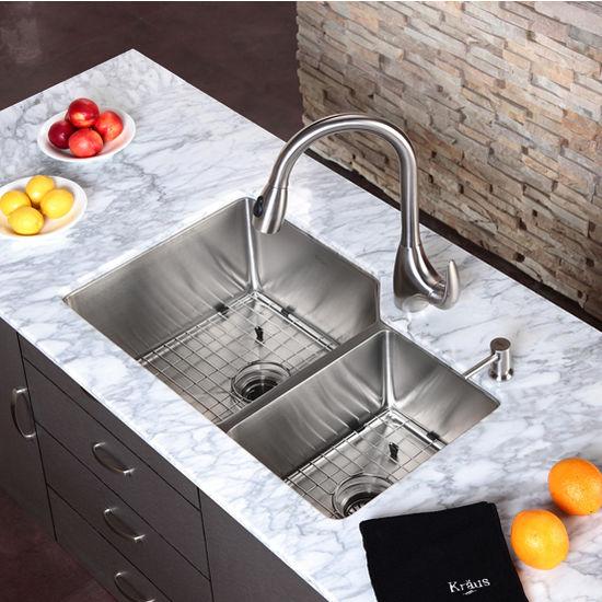 Kraus Undermount 60/40 Double Bowl 16 gauge Stainless Steel Kitchen on 24 bathroom vanity with sink, copper bowl sink, 24 x 16 sink, hammered copper farmhouse sink, cast iron undermount double sink, 70 30 undermount stainless steel sink,
