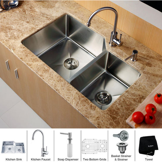 "Kraus 32"" Undermount Double Bowl Stainless Steel Kitchen Sink with Kitchen Faucet and Soap Dispenser"