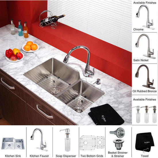 "Kraus 32"" Undermount Double Bowl Stainless Steel Kitchen Sink with 15-1/5""H Kitchen Faucet and Soap Dispenser"