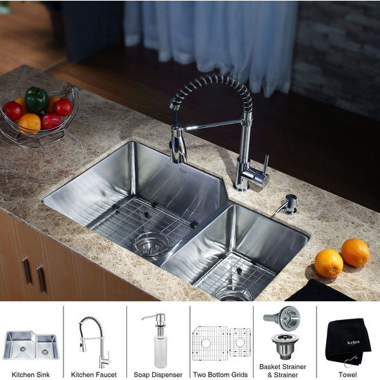 Kraus Stainless Steel 32 inch Undermount 70/30 Double Bowl Kitchen Sink and Chrome Dual Pull-out Spray Head Faucet and Dispenser, Chrome
