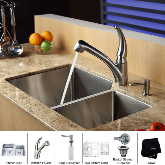 Kraus Stainless Steel 32 inch Undermount 70/30 Double Bowl Kitchen Sink with Straight Neck Kitchen Faucet and Soap Dispenser, Stainless Steel