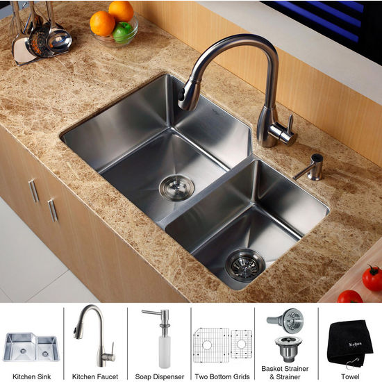 Kraus Stainless Steel 32 inch Undermount 70/30 Double Bowl Kitchen Sink with a Gooseneck Kitchen Faucet, Straight Handle and Soap Dispenser, Stainless Steel