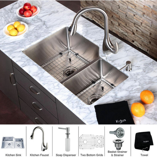 "Kraus  32 inch Undermount Double Bowl 16 gauge Stainless Steel Kitchen Sink (Bowl Sizes 18"" L x 18"" W x 10"" D, 11"" L x 15"" W x 8"" D) and Stainless Steel Pull out Kitchen Faucet with Soap Dispenser, Stainless Steel"