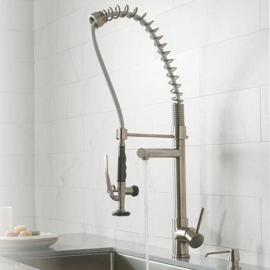 Kraus 2 Function Commercial Style Pre Rinse Kitchen Faucet With Pull