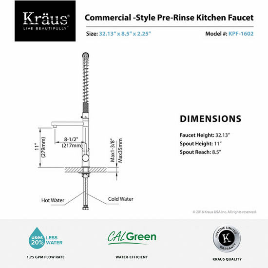 Kraus Single Lever Pull Out Kitchen Faucet with Pull-down Pre-rinse ...