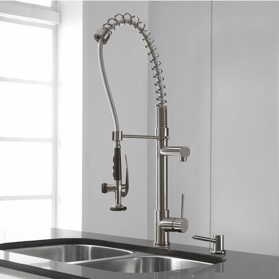 Kraus Single Lever Pull Out Kitchen Faucet With Pull Down