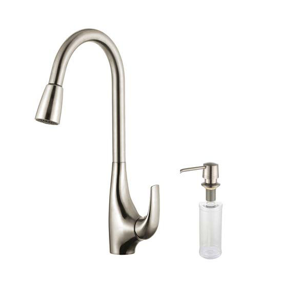Kraus Gooseneck Chrome Or Stainless Steel Pull Out Sprayer Kitchen Faucet And Soap Dispenser