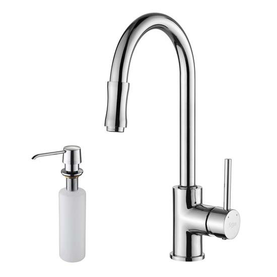 Kraus Chrome Pull Out Sprayer Kitchen Faucet and Soap Dispenser