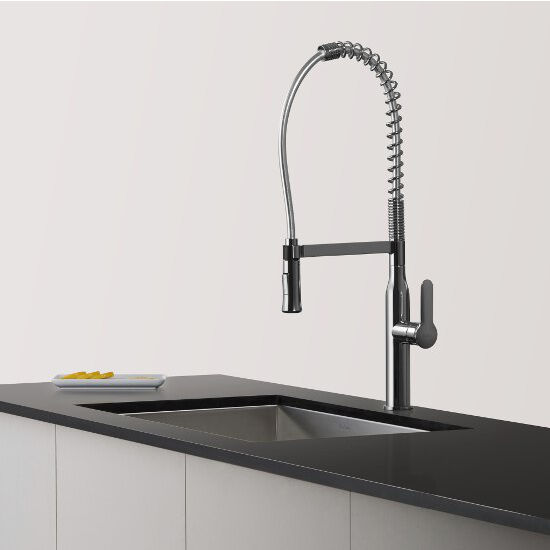 Kraus Nola Single Lever Commercial Style Kitchen Faucet With Spring Coil Neck Kitchensource