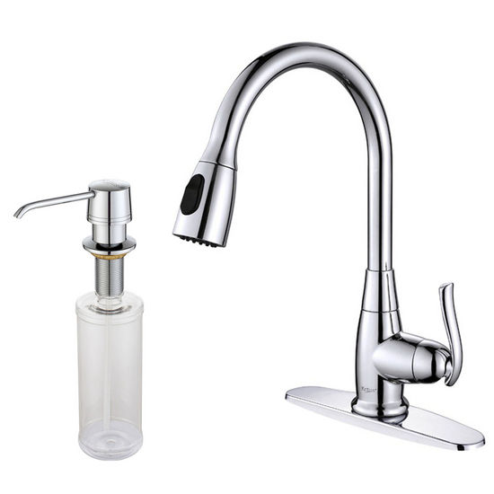 "Kraus Single Lever Pull Out 15-1/5""H Kitchen Faucet and Soap Dispenser"