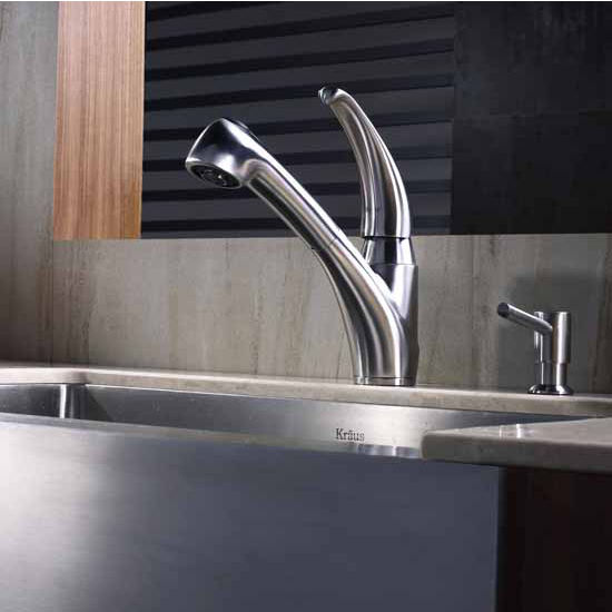Kraus Straight Neck Single Lever  Pull Out Kitchen Faucet and Soap Dispenser