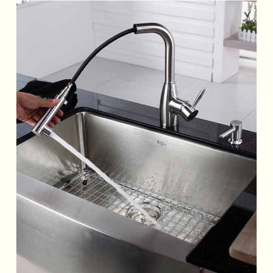Kraus Gooseneck Spring Tensioned Retractable Hose Kitchen Faucet Pull Out Sprayer