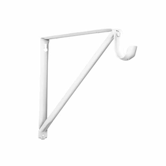 Knape & Vogt 12'' Regular Duty Fixed Rod and Shelf Bracket, White